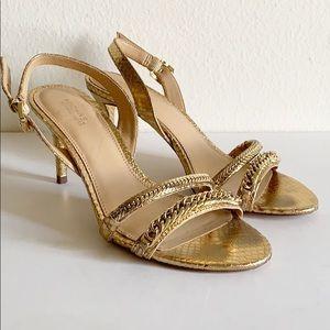 Michael Kors Gold Snakeskin Print Gold Chain Heels